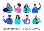 set of smiling doctors  nurses...   Shutterstock .eps vector #1937730949