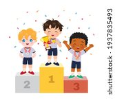 cute boy standing on podium as... | Shutterstock .eps vector #1937835493
