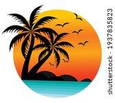 sun beach logo design  sunset... | Shutterstock .eps vector #1937835823