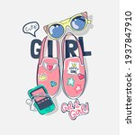 cute girl slogan with colorful... | Shutterstock .eps vector #1937847910