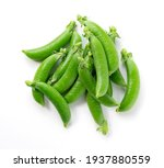 A Lot Of Snap Peas On A White...