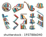bookshelves collection with...   Shutterstock .eps vector #1937886040
