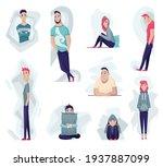 group of depressed people. sad...   Shutterstock .eps vector #1937887099