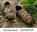 muddy worn out shoes in the...   Shutterstock . vector #193789709