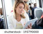 woman in city train websurfing... | Shutterstock . vector #193790000
