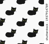 black cats seamless pattern.... | Shutterstock .eps vector #1937914789