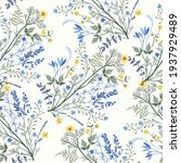 Seamless floral pattern with yellow flowers on a white background