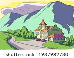 a two story motel on a mountain ... | Shutterstock .eps vector #1937982730