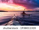 Adventurous Man Sea Kayaking In ...