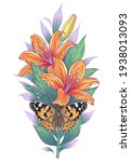 hand drawn lilies and painted... | Shutterstock .eps vector #1938013093