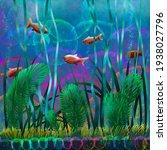 orange fish among seaweed at...   Shutterstock . vector #1938027796