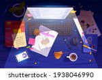 messy night workplace top view  ... | Shutterstock .eps vector #1938046990