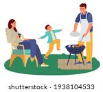 family having barbeque party...   Shutterstock .eps vector #1938104533