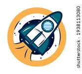 orange space badge with rocket   Shutterstock .eps vector #1938113080