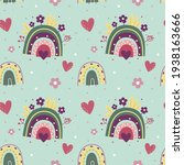 seamless pattern with rainbows. ... | Shutterstock .eps vector #1938163666