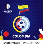colombia wave flag on pole and... | Shutterstock .eps vector #1938190720