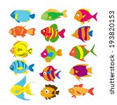 set of tropical fishes | Shutterstock .eps vector #193820153