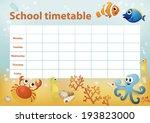 school timetable with cartoon... | Shutterstock .eps vector #193823000