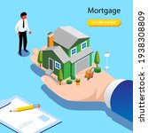 character buying mortgage house ... | Shutterstock .eps vector #1938308809