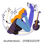 woman composing melodies and... | Shutterstock .eps vector #1938310159