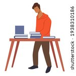 student looking for book in... | Shutterstock .eps vector #1938310186