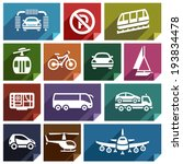 transport flat icons with...   Shutterstock .eps vector #193834478