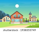 colorful country town houses... | Shutterstock .eps vector #1938353749