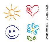 hand drawn sun  heart  smile... | Shutterstock .eps vector #193836836