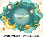 ramadan kareem paper graphic of ... | Shutterstock .eps vector #1938373336