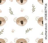 seamless pattern with koala.... | Shutterstock .eps vector #1938387916
