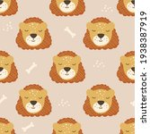 seamless pattern with lions.... | Shutterstock .eps vector #1938387919