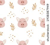 seamless pattern with pigs.... | Shutterstock .eps vector #1938387949