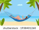 woman reading book in hammock...   Shutterstock .eps vector #1938401260