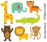 sets  of cute animal  cute...   Shutterstock .eps vector #1938412189
