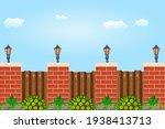 wooden fence against the sky....   Shutterstock .eps vector #1938413713