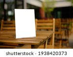 Small photo of Stand Mock up Menu frame tent card blurred background design key visual layout.