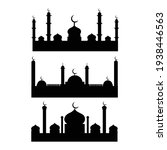 mosque silhouette background or ... | Shutterstock .eps vector #1938446563