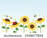 sunflower field  ladybug and...   Shutterstock .eps vector #1938477856