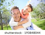 man giving piggyback ride to... | Shutterstock . vector #193848044