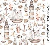 Watercolor Vintage Sea Pattern...