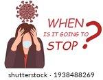 pandemic fatigue. flat vector...   Shutterstock .eps vector #1938488269