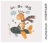 cute giraffe flying on a plane... | Shutterstock .eps vector #1938491809