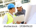 engineers on building site... | Shutterstock . vector #193849610