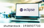 Small photo of POZNAN, POL - FEB 6, 2021: Laptop computer displaying logo of Eclipse, an integrated development environment (IDE) used in computer programming