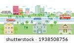 suburb with pedestrians and...   Shutterstock .eps vector #1938508756