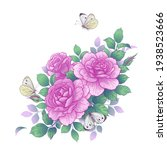hand drawn pink rose flowers... | Shutterstock .eps vector #1938523666