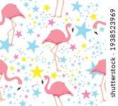 tropical seamless flamingo... | Shutterstock .eps vector #1938523969