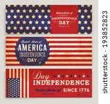 american flag banners set with... | Shutterstock .eps vector #193852823