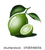Green Lime With A Leaf On A...