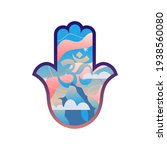 hand of hamsa with mountaine... | Shutterstock .eps vector #1938560080